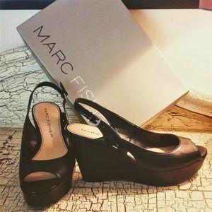 Marc Fisher Black Wedge Sandals